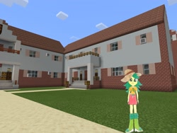 Size: 2048x1536 | Tagged: safe, artist:topsangtheman, sweet leaf, equestria girls, house, looking at you, minecraft, photoshopped into minecraft, solo, traditional art
