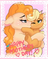 Size: 2312x2803   Tagged: safe, artist:h0rsefeathers, applejack, pear butter, earth pony, pony, cheek kiss, cute, female, filly, filly applejack, heart, high res, kissing, mare, mother and child, mother and daughter, mother's day, one eye closed, text, younger