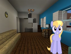 Size: 2048x1536 | Tagged: safe, artist:bluemeganium, artist:topsangtheman, cloud kicker, pegasus, pony, house, living room, looking at you, minecraft, photoshopped into minecraft, solo