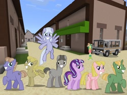 Size: 2048x1536 | Tagged: safe, artist:topsangtheman, artist:vector-brony, dusk drift, offbeat, starlight glimmer, sweet leaf, earth pony, pegasus, pony, unicorn, equestria girls, the cutie map, bus, minecraft, moon dust, our town, photoshopped into minecraft