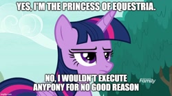 Size: 888x499 | Tagged: safe, edit, edited screencap, screencap, twilight sparkle, alicorn, pony, non-compete clause, caption, female, frown, image macro, implied execution, implied tyrant sparkle, mare, meme, solo, text, twilight is not amused, twilight sparkle (alicorn), unamused