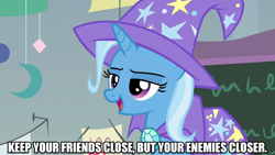 Size: 1280x720   Tagged: safe, edit, edited screencap, editor:jaredking203, screencap, trixie, pony, unicorn, a horse shoe-in, cape, caption, clothes, female, hat, image macro, mare, meme, movie reference, solo, text, the godfather, trixie's cape, trixie's hat