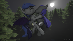 Size: 1280x720 | Tagged: safe, alternate version, artist:batponyecho, oc, oc only, oc:au hasard, oc:echo, bat pony, pony, 3d, bat pony oc, bat wings, commission, cutie mark, eyes closed, female, flying, forest, kissing, male, mare, moon, night, oc x oc, shipping, source filmmaker, spread wings, stallion, straight, tail, tree, wings, ych result