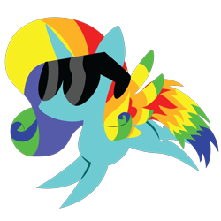 Size: 2100x2100 | Tagged: safe, artist:captshowtime, part of a set, oc, oc only, oc:lady rainbow, alicorn, pony, chibi, commission, cute, icon, rainbow, simple background, solo, sunglasses, transparent background, ych result