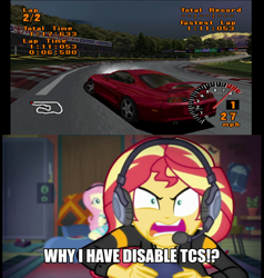 Size: 700x734 | Tagged: safe, edit, edited screencap, screencap, fluttershy, sunset shimmer, equestria girls, game stream, spoiler:eqg series (season 2), engrish, grammar error, gran turismo, gran turismo 1, shimmercode, solo, toyota, toyota supra