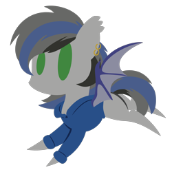 Size: 2100x2100 | Tagged: safe, artist:captshowtime, part of a set, oc, oc only, oc:nightglider, bat pony, pony, chibi, clothes, commission, cute, ear piercing, earring, hoodie, icon, jacket, jewelry, piercing, simple background, solo, sweatshirt, transparent background, ych result