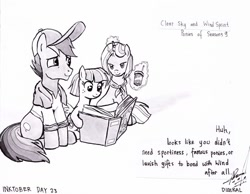 Size: 1024x796 | Tagged: safe, artist:digiral, clear sky, quibble pants, wind sprint, earth pony, pegasus, pony, unicorn, common ground, absurd resolution, book, dialogue, family, female, filly, glowing horn, horn, ink drawing, inktober, magic, magic aura, male, mare, monochrome, neckerchief, open book, signature, stallion, telekinesis, traditional art