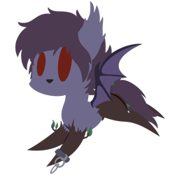 Size: 2100x2100 | Tagged: safe, artist:captshowtime, part of a set, oc, oc only, oc:nyn indigo, bat pony, hybrid, original species, pony, timber pony, timber wolf, wolf, chains, chibi, commission, cute, doggo, icon, simple background, solo, species swap, timber, transparent background, winged, wood, ych result