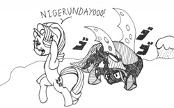 Size: 1280x793 | Tagged: safe, artist:ewoudcponies, queen chrysalis, starlight glimmer, pony, unicorn, jojo's bizarre adventure, menacing, monochrome, traditional art, ultimate chrysalis, ゴ ゴ ゴ