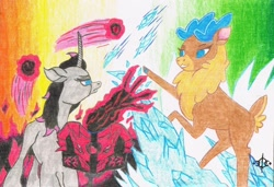 Size: 1280x876 | Tagged: safe, artist:assertiveshypony, fhtng th§ ¿nsp§kbl, oleander (tfh), velvet (tfh), classical unicorn, deer, reindeer, unicorn, them's fightin' herds, abstract background, barely pony related, cloven hooves, community related, duo, female, ice, leonine tail, magic, simple background, traditional art, unshorn fetlocks