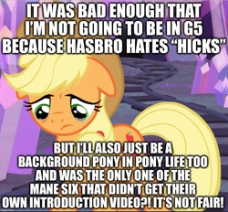 Size: 1015x941 | Tagged: safe, edit, edited screencap, screencap, applejack, earth pony, pony, hearthbreakers, my little pony: pony life, background pony applejack, caption, cropped, crying, derail in the comments, image macro, sad, solo, text