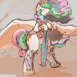 Size: 3000x3000 | Tagged: safe, artist:ruby, princess celestia, alicorn, pony, armor, bipedal, eyes closed, fantasy class, female, greatsword, greaves, high res, hoof hold, knight, mare, paladin, solo, warrior