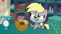 Size: 1920x1080 | Tagged: artist needed, source needed, safe, derpibooru exclusive, derpy hooves, pegasus, pony, my little pony: pony life, slice of life (episode), basket, food, g4 to g4.5, generation leap, muffin, scene interpretation, solo, trace, vector
