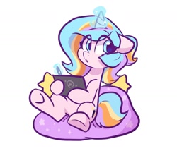 Size: 1400x1200   Tagged: safe, artist:colorfulcolor233, oc, oc only, oc:oofy colorful, pony, unicorn, beanbag, cute, looking at you, pen, solo, tablet