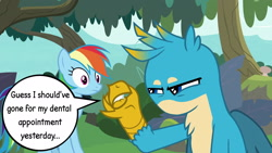Size: 1920x1080 | Tagged: safe, edit, edited screencap, screencap, gallus, rainbow dash, griffon, pegasus, pony, non-compete clause, angry, annoyed, beak, beakless, cartoon physics, claws, got your nose, lip bite, modular, no mouth, speech bubble, squint, squinted eyes, wings