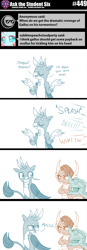 Size: 800x2298 | Tagged: safe, artist:sintakhra, gallus, ocellus, smolder, changedling, changeling, dragon, griffon, tumblr:studentsix, looking at each other, ocellus is not amused, prank, revenge, smolder is not amused, talking to viewer, unamused, wet mane