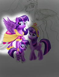 Size: 2550x3300 | Tagged: safe, artist:jac59col, twilight sparkle, alicorn, the last problem, age progression, big crown thingy, big crown thingy 2.0, clothes, coronation dress, dress, element of magic, female, filly, filly twilight sparkle, jewelry, multeity, princess twilight 2.0, regalia, self ponidox, sparkle sparkle sparkle, time paradox, twilight sparkle (alicorn), younger