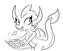 Size: 3894x3138 | Tagged: safe, artist:tjpones, smolder, dragon, baking, cookie, cooking, female, fire, food, monochrome, simple background, white background