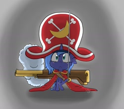 Size: 1993x1762 | Tagged: safe, artist:shinycyan, princess luna, alicorn, cute, determined, female, filly, fluffy, gun, hat, one piece, pirate, pirate hat, pirate outfit, solo, sword, weapon, woona, younger