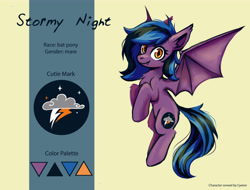 Size: 5000x3800 | Tagged: safe, artist:amy-gamy, oc, oc only, oc:stormy night, bat pony, bat pony oc, bat wings, cutie mark, happy, night, oc batpony, purple, reference sheet, simple, simple background, smiling, wings