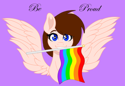 Size: 3824x2640 | Tagged: safe, artist:elementbases, oc, oc only, oc:breanna, pegasus, pony, base color, base used, base:elementbases, flag, flag waving, gay pride, gay pride flag, happy, no shading, pride, pride flag, pride month, rainbow, rainbow flag, simple, simple background, smiling, solo