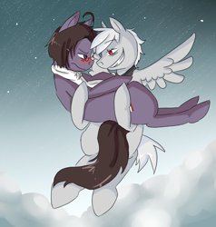 Size: 834x876 | Tagged: safe, artist:ask-pony-gerita, oc, earth pony, pegasus, pony, blushing, bridal carry, carrying, clothes, cloud, female, flying, glasses, grin, hetalia, holding a pony, looking at each other, male, night, ponified, scarf, smiling, stars, straight, unamused