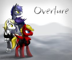 Size: 1920x1604 | Tagged: safe, artist:dawnmistpony, oc, oc only, oc:agent bentgrass, oc:fleethoof, oc:midnight dasher, bat pony, fanfic:overture, fanfic, fanfic art, fanfic cover, gun, military, weapon