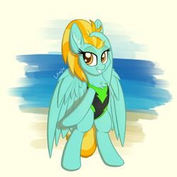 Size: 1900x1900 | Tagged: safe, artist:litrojia, lightning dust, pegasus, pony, abstract background, beach, bipedal, chest fluff, clothes, ear fluff, female, fluffy, lidded eyes, looking at you, mare, one-piece swimsuit, smiling, solo, swimsuit, water