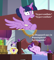 Size: 1280x1440 | Tagged: safe, edit, edited screencap, screencap, starlight glimmer, twilight sparkle, alicorn, a royal problem, ballerina, facehoof, faic, gilbert and sullivan, hyperventilating, ruddigore, speech, talking, tutu, twilarina, twilight sparkle (alicorn), twilighting, unsound effect