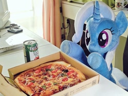 Size: 1024x768 | Tagged: safe, artist:nekokevin, trixie, pony, unicorn, can, female, food, irl, mare, photo, pizza, pizza box, plushie, raised hoof, sitting, smiling, solo, underhoof