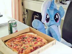 Size: 1024x768 | Tagged: safe, artist:nekokevin, trixie, pony, unicorn, can, female, food, irl, looking at you, mare, photo, pizza, pizza box, plushie, pointing, raised hoof, sitting, smiling, solo, underhoof