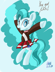 Size: 1044x1364 | Tagged: safe, artist:notadeliciouspotato, lighthoof, earth pony, pony, abstract background, bipedal, cheerleader, cheerleader outfit, clothes, female, mare, open mouth, pleated skirt, raised hoof, signature, skirt, smiling, solo, speech, talking