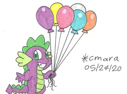 Size: 1009x745 | Tagged: safe, artist:cmara, spike, dragon, balloon, grin, male, smiling, solo, traditional art