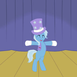 Size: 700x700 | Tagged: safe, artist:marim87, trixie, pony, unicorn, bipedal, clothes, gloves, happy, hat, solo, stage, top hat, vest