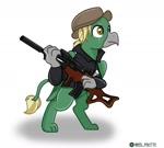 Size: 1280x1153 | Tagged: safe, artist:redpalette, oc, oc:arcturus aquila, griffon, fallout equestria, griffon oc, gun, weapon