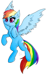 Size: 529x845 | Tagged: safe, artist:daxratchet, rainbow dash, pegasus, pony, female, mare, rearing, simple background, smiling, solo, white background