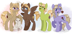 Size: 1283x615 | Tagged: safe, artist:daxratchet, bear, pegasus, pony, unicorn, flower in mouth, glasses, hetalia, hug, one eye closed, paws, ponified, raised hoof, rose, rose in mouth, sitting, smiling, underpaw, winghug, wink