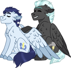 Size: 1024x980 | Tagged: safe, artist:artistcoolpony, soarin', thunderlane, pegasus, pony, chest fluff, cute, gay, male, massage, shipping, simple background, soarilane, transparent background