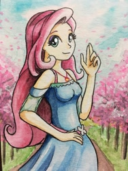 Size: 900x1200 | Tagged: safe, artist:astevenamedwolf, fluttershy, equestria girls, equestria girls series, female, geode of fauna, looking at you, magical geodes, smiling, solo, traditional art, tree