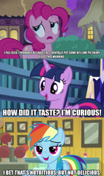Size: 1280x2160 | Tagged: safe, edit, edited screencap, editor:jaredking203, screencap, pinkie pie, rainbow dash, twilight sparkle, alicorn, earth pony, pegasus, pony, common ground, every little thing she does, the maud couple, caption, comic, female, image macro, mare, screencap comic, text, twilight sparkle (alicorn)