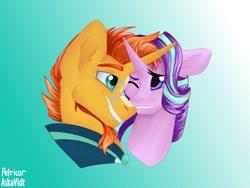 Size: 1024x768 | Tagged: safe, artist:askavidt, starlight glimmer, sunburst, pony, unicorn, female, male, one eye closed, shipping, smiling, starburst, straight
