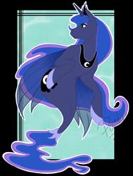 Size: 1000x1321 | Tagged: safe, artist:pandiie, princess luna, pony, seapony (g4), female, mare, seaponified, seapony luna, simple background, solo, species swap, transparent background