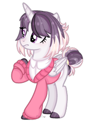 Size: 744x1036 | Tagged: safe, artist:pancakeartyt, oc, oc:morning star, alicorn, pony, female, mare, simple background, solo, sweater best, transparent background