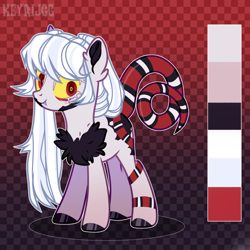 Size: 2000x2000 | Tagged: safe, artist:keyrijgg, oc, oc only, unnamed oc, hybrid, original species, snake, snake pony, body markings, chest fluff, colored hooves, colored pupils, colored sclera, ear fluff, facial markings, fangs, female, reference sheet, signature, smiling, snake tail, solo