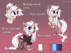 Size: 4000x3000 | Tagged: safe, artist:keyrijgg, oc, oc only, unnamed oc, pony, unicorn, clothes, colored hooves, colored muzzle, curved horn, female, fishnets, hair bun, horn, jewelry, levitation, magic, mare, necklace, reference sheet, solo, sweatshirt, telekinesis, tongue out