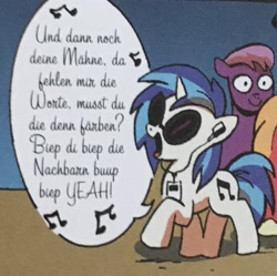 Size: 2048x2039 | Tagged: safe, artist:andypriceart, big macintosh, dj pon-3, vinyl scratch, earth pony, pony, unicorn, spoiler:comic09, background pony, die ärzte, earbuds, female, german, male, mare, music notes, singing, solo focus, song parody, song reference, stallion, the beatles, unnamed character, unnamed pony