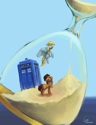 Size: 1306x1689 | Tagged: safe, artist:cyonixcymatro, derpy hooves, doctor whooves, time turner, earth pony, pegasus, pony, atg 2020, doctor who, duo, hourglass, newbie artist training grounds, surreal, tardis