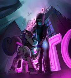 Size: 2623x2877 | Tagged: safe, artist:xbi, sweetie belle, human, pony, robot, robot pony, unicorn, city, cityscape, cyberpunk, duo, sweetie bot