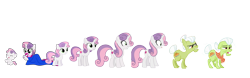 Size: 6881x2160 | Tagged: artist needed, safe, artist:estories, artist:jeatz-axl, artist:magister39, artist:sonofaskywalker, apple bloom, granny smith, scootaloo, sweetie belle, earth pony, pony, unicorn, for whom the sweetie belle toils, growing up is hard to do, where the apple lies, 5-year-old sweetie belle, adult, age progression, baby, baby pony, clothes, cutie mark, cutie mark crusaders, dress, elderly, female, filly, infant, lipstick, makeup, older, reference sheet, simple background, teenager, transparent background, younger