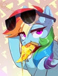 Size: 1100x1450   Tagged: safe, artist:hakkerman, rainbow dash, pegasus, pony, chest fluff, ear fluff, eyebrows visible through hair, female, food, mare, mouth hold, pizza, solo, sunglasses